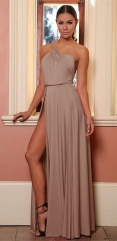 e784e756fcf5 Taupe Sleeveless One Shoulder Twist Strap Backless Double High Slit Maxi  Dress Gown Maxi Dress With