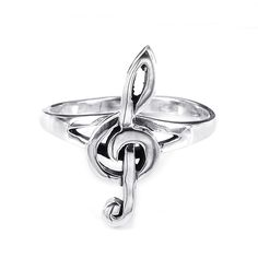 Express your love for music through fashion with this charming sterling silver music note ring from Thailand. Featuring an elegant treble clef note, this shiny metal ring is coated in a durable anti-tarnish finish that catches the light beautifully.