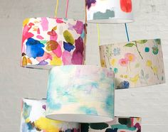 Infuse your lighting with the colourful design of this Abstract lamp shade from Bluebellgray. Inspired by Bluebellgray founder Fi' watercolour palette when she creates her colourful works, this lamp