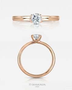 The 'Stellar' engagement ring embraces the diamond in a delicate tension setting.