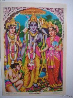 India Old Art Print Religious RAMA LAXMANA SITA HANUMAN Ramayana 26095 picclick.com