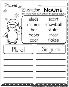 January Grade Worksheets - Plural and Singular Nouns Plurals Worksheets, Homeschool Worksheets, First Grade Worksheets, Homeschooling, Super Worksheets, Alphabet Worksheets, Nouns First Grade, First Grade Reading, Kindergarten Writing Activities