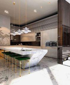 Modern kitchen design 😱 What are your thoughts on it? Luxury Kitchen Design, Kitchen Room Design, Shop Interior Design, Home Decor Kitchen, Interior Design Kitchen, Kitchen Furniture, New Kitchen, Kitchen Ideas, Küchen Design