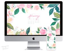 February 2018 floral watercolor wallpaper download by artist Michelle Mospens. - Mospens Studio