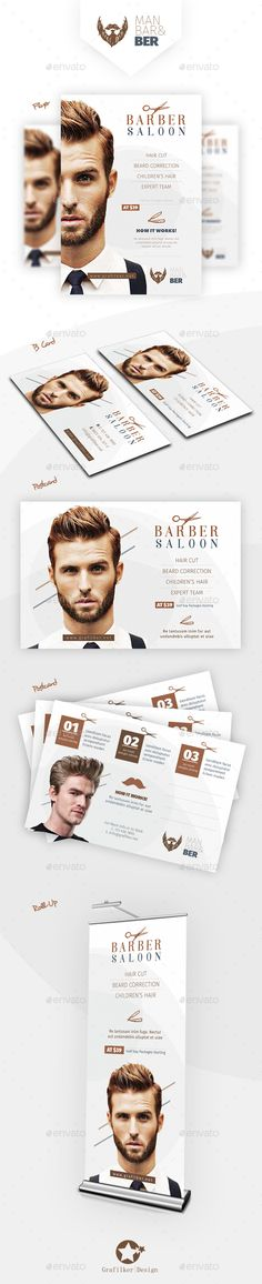 Barber Saloon Bundle Templates — Photoshop PSD #scissors #balyaj