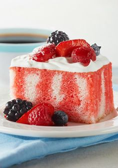 Berry Summer Poke Cake — KOOL-AID gives fresh berries an instant glaze look as well as a sweeter flavor making this cake stand out on your dessert table. This is a great recipe to bring to a picnic or potluck party.