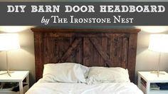 DIY Barn Door Headboard by The Ironstone Nest - www.theironstonenest.com