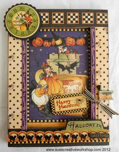 "Sue's Creative Workshop:  Halloween Frame made using Graphic 45's new ""Happy Haunting"" Collection."