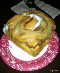 Gaston's Tavern Cinnamon Bun in the New Fantasyland! It was amazing!! Warm soft and yummy!