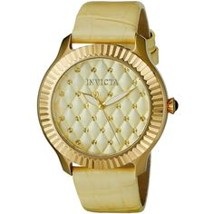 Invicta Women's 'Angel' Quartz Stainless Steel and Yellow Leather... ($91) ❤ liked on Polyvore featuring jewelry, watches, yellow jewelry, quartz movement watches, dial watches, cabochon jewelry and leather watches