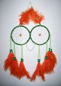 Orange, Lime and Hunter Green Owl Dream Catcher by Lightmeadow Creations https://www.facebook.com/LightmeadowCreations?hc_location=timeline