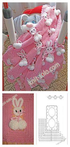 Bunny Baby Blanket - Crochet Inspiration - No Pattern - (knit-solo) Baby Afghan Crochet, Manta Crochet, Easter Crochet, Baby Afghans, Crochet Bunny, Crochet Squares, Crochet For Kids, Crochet Stitches, Crochet Blankets