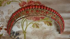 Exquisite, rare antique French gilt metal and coral diadem / comb / tiara , dating from the early 1800's Georgian period. A most tasteful and elegant