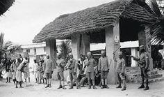 Rebuilding: German colonial soldiers on the Tanganyika Railway at Dar es Salaam, early 20th century.