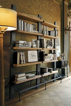 Two-faces and 2 compartments made in old and black coloured pillars with 5 shelves – Brown Furniture, Wood Furniture, Live In Style, Bookcases, Home Renovation, Home Organization, Industrial Style, Shabby Chic, Dining Room