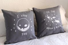 I love you to the moon and back - His and Hers Pillow Covers 18 x 18 inch