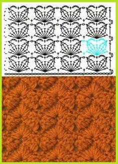 Another crochet pattern Crochet Stitches Chart, Crochet Diagram, Crochet Motif, Diy Crochet, Knitting Stitches, Crochet Designs, Crochet Patterns, Confection Au Crochet, Mode Crochet
