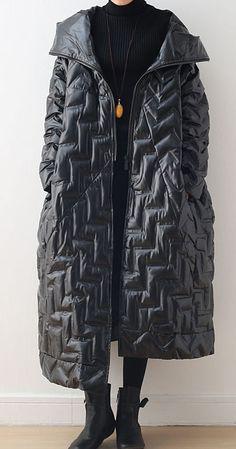 Luxury black warm warm winter coat plussize hoodeddown jacket GlossyNew coats