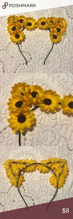 Sunflower  Cat Ear Headband This fun sunflower headband is perfect for summer vacation or a music festival! NWOT Accessories Hair Accessories