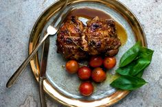 NYT Cooking: Grilled Pomegranate-Glazed Chicken With Tomato Salad