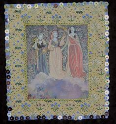 The Three Fates, Barbara Brackman, 2010, patchwork, digital manipulation and embroidery.