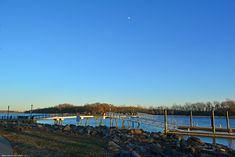 Waxing Gibbous Over Burlington Island and the Delaware River, as seen from Bristol, PA.