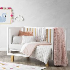 Jersey Quilted Pink Swan Cot Quilt Cover Set + love the suede look wall.