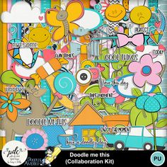 EVERYTHING in this kit is a doodle including the frames, bows, ribbons, etc...super cute and fuN!