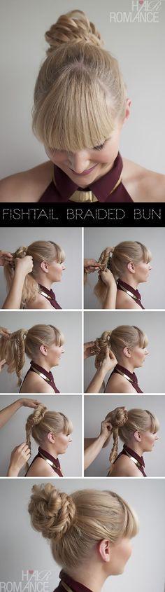 Fishtail braided bun