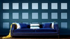 If you're angling for a wall refresh.why not try a geometric paint! Graham Brown, Couch, Throw Pillows, Trends, Bed, Wall, Painting, Furniture, Design