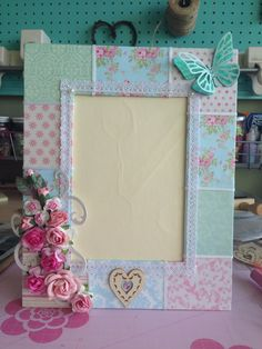 Patchwork photo frame with roses