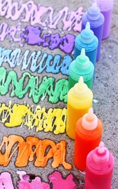 Outdoors Kids Art Projects - DIY Sidewalk Spray Chalk - DIY Projects & Crafts by DIY JOY