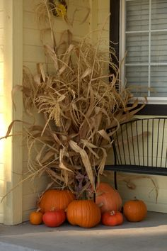 Cute fall idea that is quick and easy to do but makes a great statement. Add some mums or perhaps a scarecrow and u r set for the entire fall season.