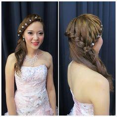 Wedding dinner makeup & hairdo, braided hairstyle.  Bride: Penny ✨✨
