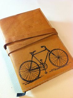 leather journal sketchbook handprinted for you custom bicycle $25
