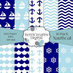 Nautical Scrapbook Paper - by KerriCreatesDigital on Etsy