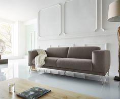 3-Sitzer Lordina 220x90 cm Grau Füße Metall Premium Möbel Sofas 2 & 3 Sitzer Googlen für besten Preis