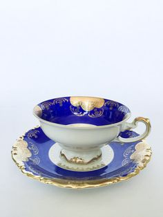 Royal Blue and Gold Teacup by Kunst Kronach by HomeAndAbroad