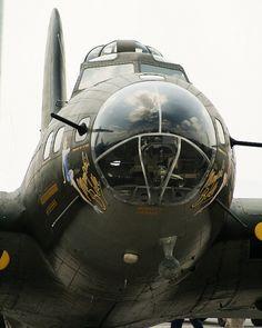 Menacing #photo of the B-17 Memphis Belle (movie version) at the 2010 Vectren Dayton Air Show. #Aviation #Warbird