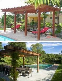 Great designs for shade nest to a pool.