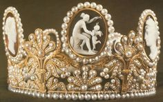 Creation: The tiara was created by Marie-Etienne Nitot in 1809. Materials: pearls and seven cameos set in gold Queen Hort...