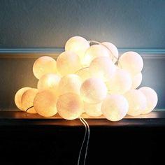 White Cotton Ball String Lights