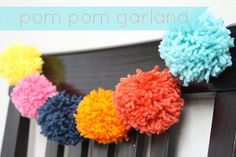 Yarn Pom Pom Garland I have fallen in love with yarn lately. I don't know how to crochet anything besides a long, skinny chain (which . Pom Pom Garland, Diy Garland, Garlands, Craft Party, Diy Party, Party Ideas, Crafts For Girls, Fun Crafts, Pom Pom Decorations