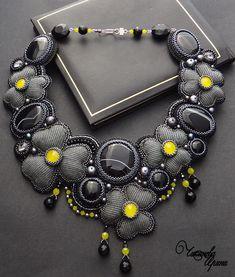 """Amazing necklace """"Grey flowers"""" - темно-серый, колье, ожерелье, Вышивка бисером"""