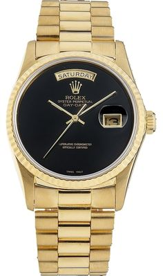 Day-Date 18038 18K Yellow Gold Black Dial Men's Presidential Watch (SQ)