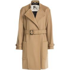 Burberry London Wool-Cashmere Trench Coat (1,035,475 KRW) ❤ liked on Polyvore featuring outerwear, coats, jackets, camel, trench coat, wool cashmere coat, camel trench coat, belted wool coat and wool coat