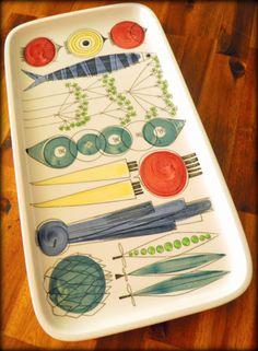 """Picknick"" Porcelain Platter--Rorstrand (Sweden)--Hand Painted--Marianne Westman Design"