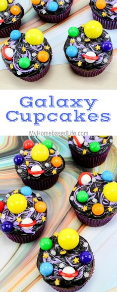 There is really no right or wrong way to decorate these galaxy cupcakes so let their creative minds run free. It's exciting to see what your kids create. #galaxy #cupcakes #recipe #fooddecor #spacethemed | Galaxy Unit Ideas | Homeschool Activities | Easy recipes for kids | Dessert Recipe | Cupcakes Recipe | Chocolate Cupcakes |  via @myhomebasedlife