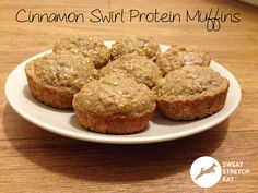 cinnamon swirl protein muffins Used 2 scoops Lean for Her Vanilla Whey Isolate protein powder Ground the Oatmeal into flour Topped each muffin 1/8 tsp Cinnamon & swirled w/toothpick Excluded Stevia & Salt
