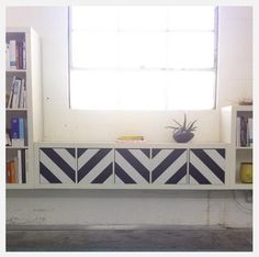 Use contact paper to decorate panels of a window seat or room divider